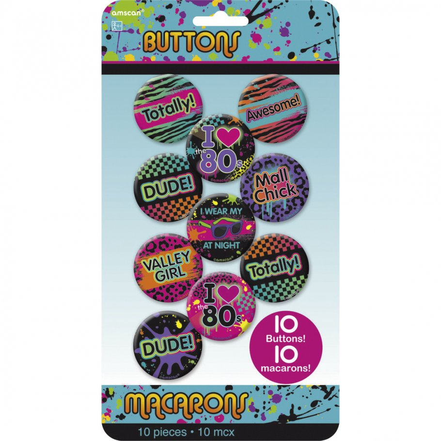 10 Stk. Party Buttons 80er Jahre Pins