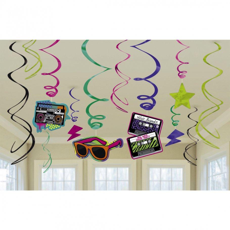 12 stk h nge deko 80er jahre party spirale 80 s girlande. Black Bedroom Furniture Sets. Home Design Ideas