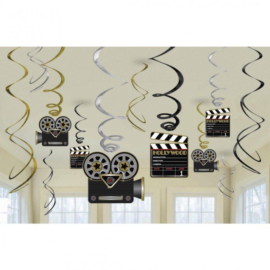 12 tlg hollywood girlanden hollywoodparty deko spiralen mottoparty deckenh nger h ngedeko. Black Bedroom Furniture Sets. Home Design Ideas