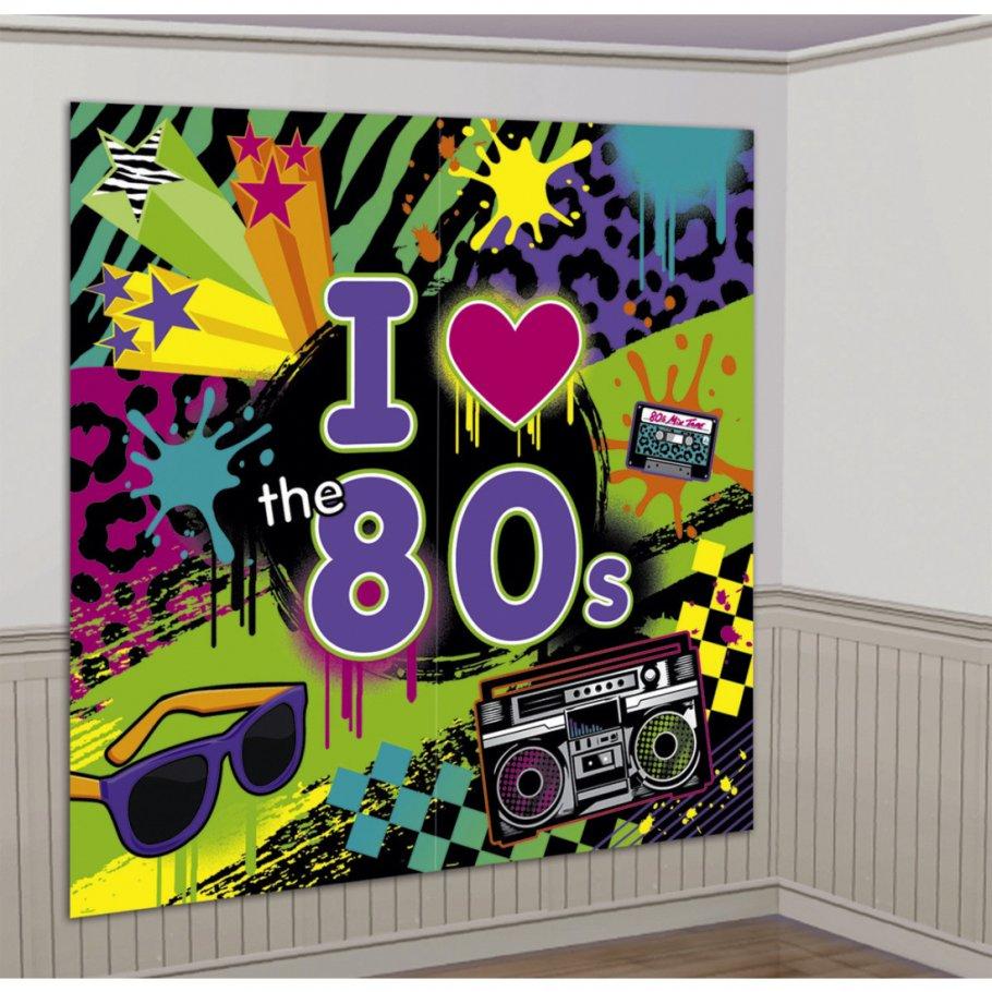 165x 165 cm 80 s wanddeko 80er jahre party wandbild mottoparty wandfolie wanddekoration. Black Bedroom Furniture Sets. Home Design Ideas