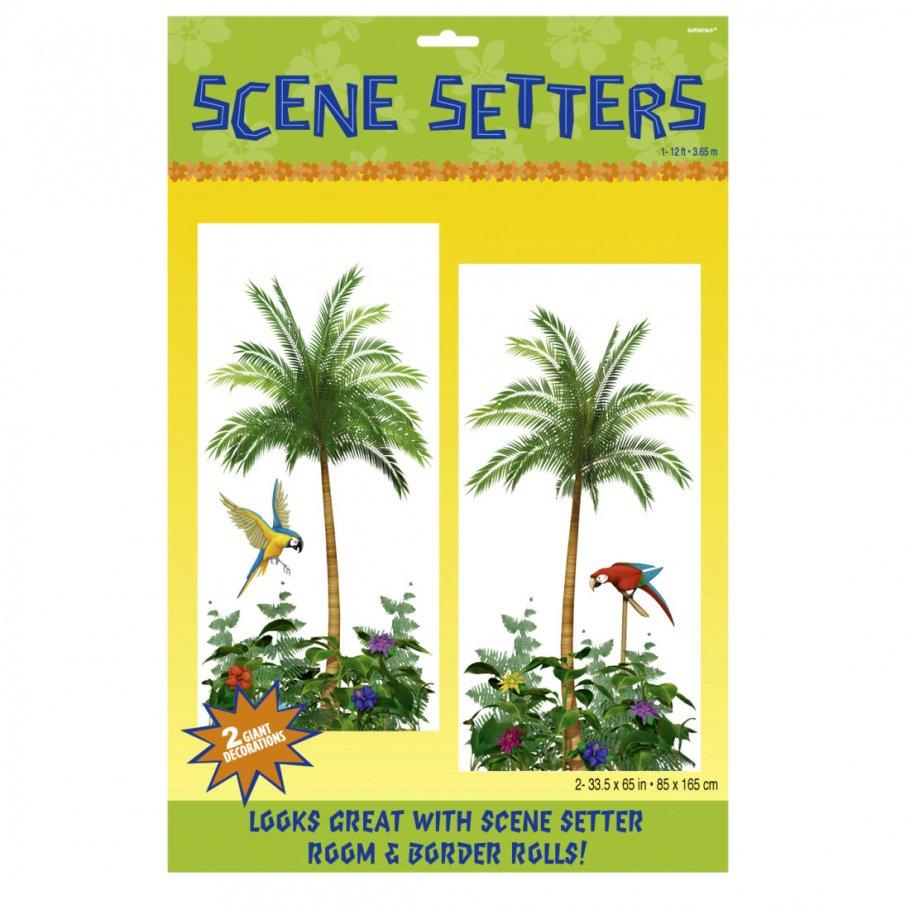 2 hawaii wanddeko folien palmen wand bild insel deko for Deko wandbilder