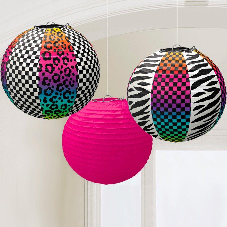 3 papierlampions 80er jahre papierlaternen disco rund 24 cm 8 49. Black Bedroom Furniture Sets. Home Design Ideas