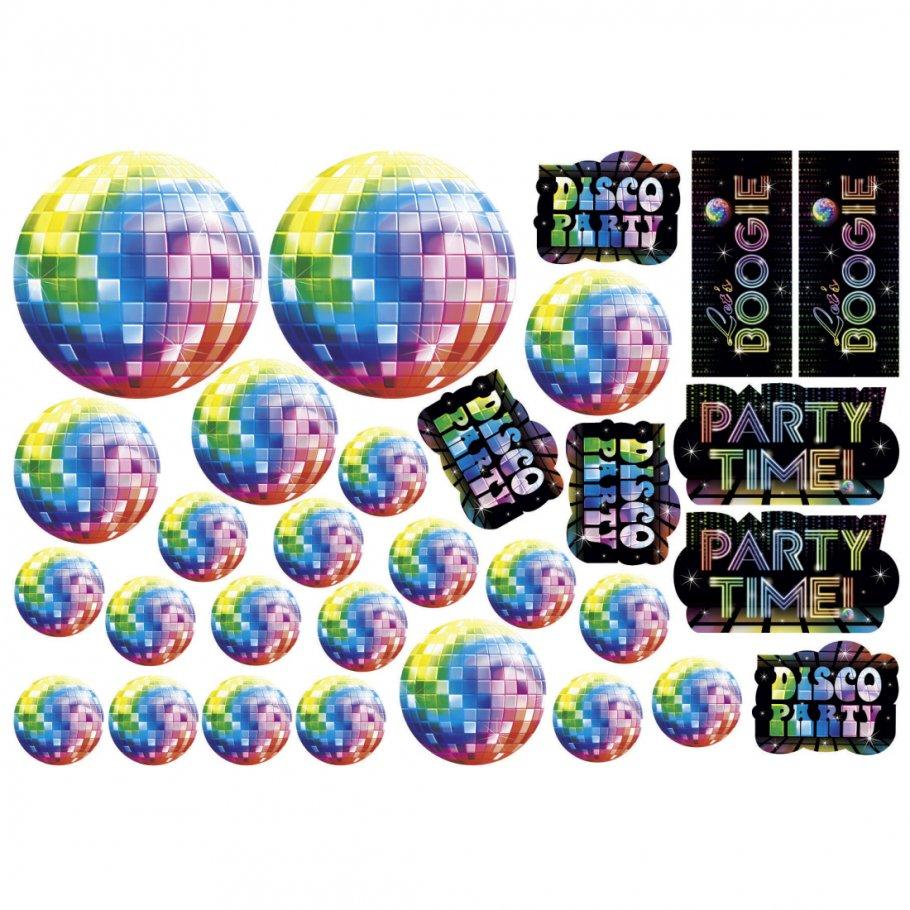 30 stk party raum deko set 70er jahre dekoschilder disco. Black Bedroom Furniture Sets. Home Design Ideas