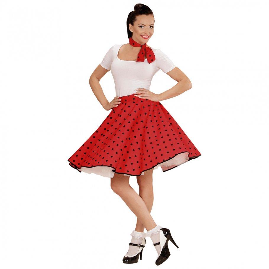 60er jahre petticoat rot rockabilly rock mit halstuch polkarock und schal rock n roll damenrock. Black Bedroom Furniture Sets. Home Design Ideas