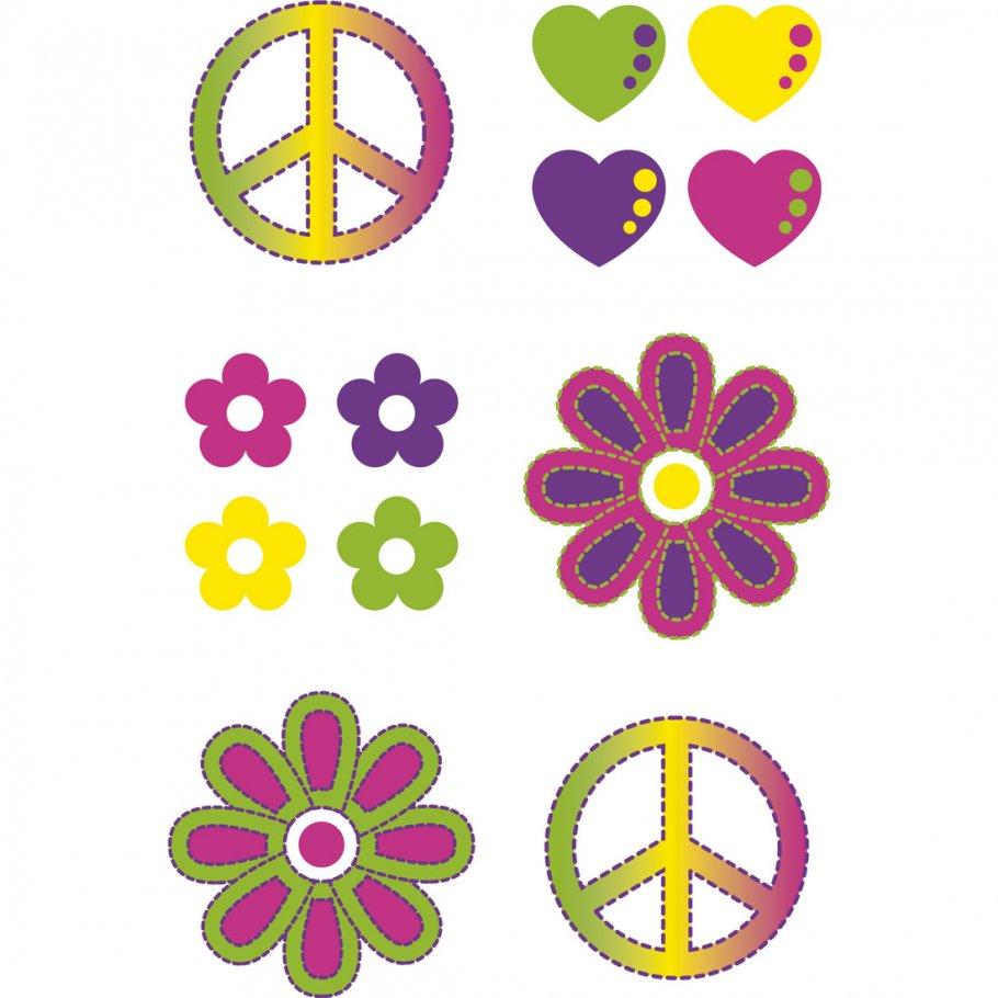 60er jahre klebe hippie tattoos mehrfarbig tattooaufkleber flower power sticker hippi accessoire. Black Bedroom Furniture Sets. Home Design Ideas
