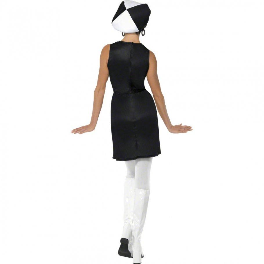 60er jahre kleid party girl kost m wei schwarz s 36 38. Black Bedroom Furniture Sets. Home Design Ideas