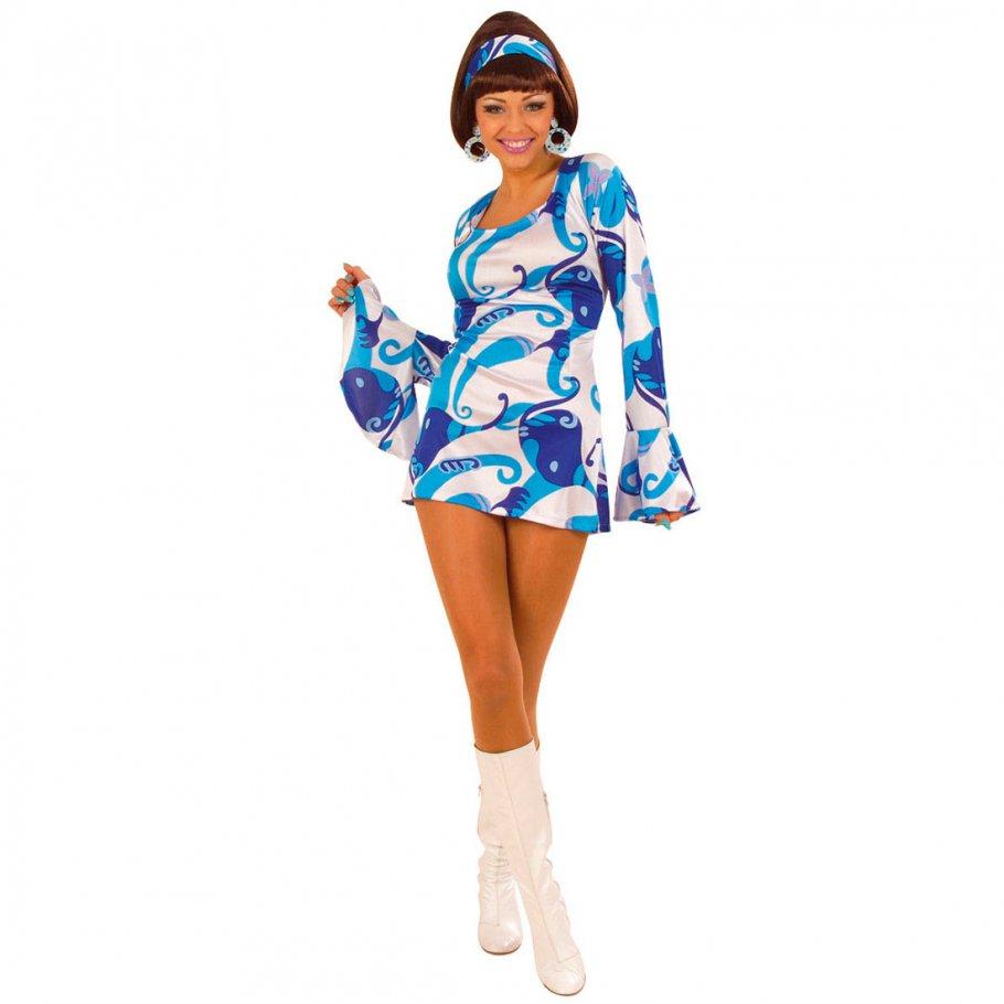 70er Jahre Partykleid - blau Cocktailkleid kurz Gr S, 22,99 €