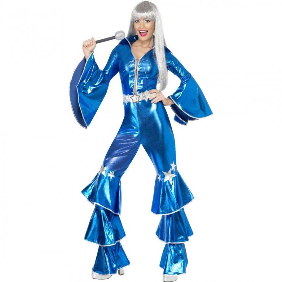 Schlager Kostüm Damen 70er Jahre Outfit Disco Overall Schlager