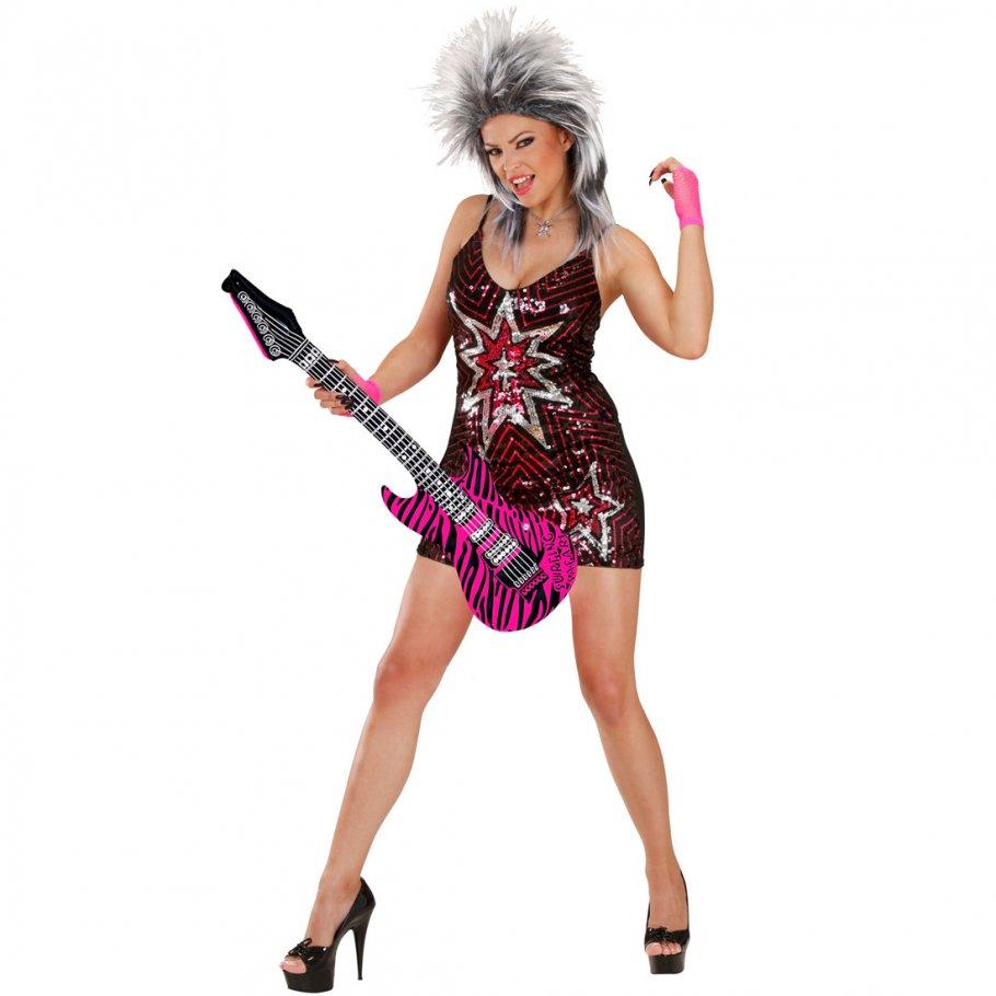 aufblasbare gitarre deko luftgitarre rosa zebra rocker. Black Bedroom Furniture Sets. Home Design Ideas