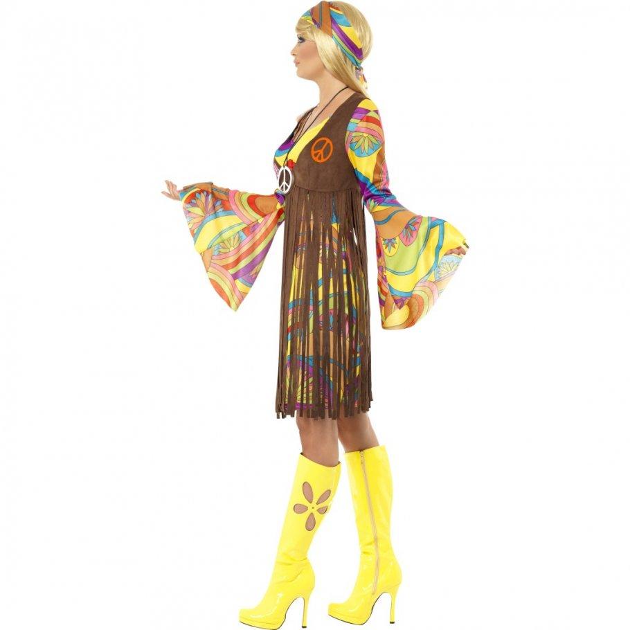 buntes hippie outfit 70er jahre hippiekleid neon 60er. Black Bedroom Furniture Sets. Home Design Ideas