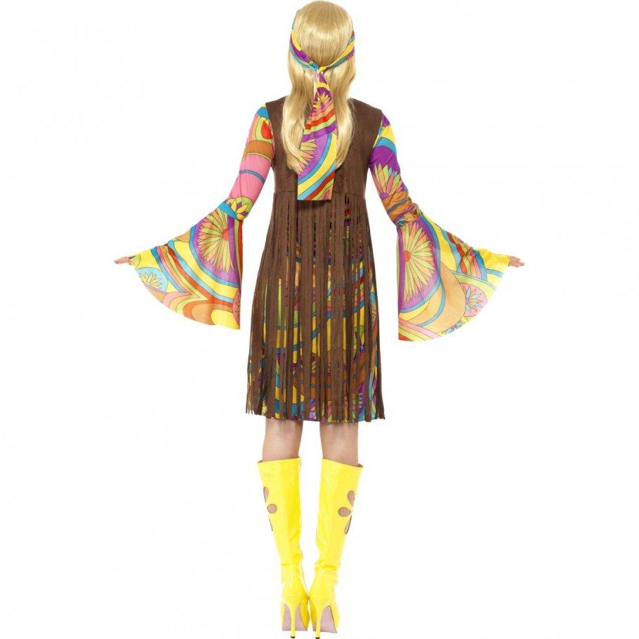 buntes hippie outfit 70er jahre hippiekleid neon 60er jahre kost m kleid mit glocken rmeln weste. Black Bedroom Furniture Sets. Home Design Ideas