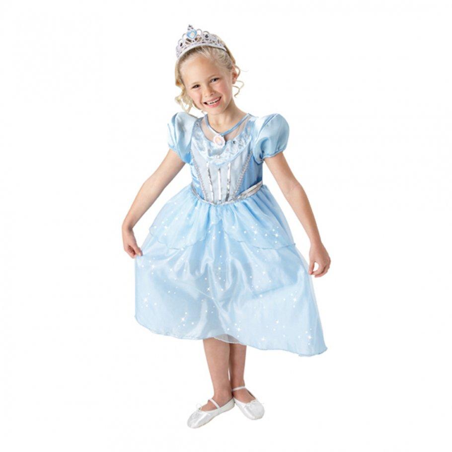 Aschenputtel Mädchenkostüm mit Diadem Cinderella Kostüm blau L 7-9 ...