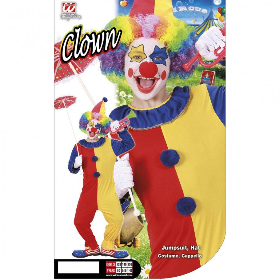 clown kost m kinder clownkost m 128 cm 5 7 jahre clownskost m jumpsuit harlekin faschingskost m. Black Bedroom Furniture Sets. Home Design Ideas