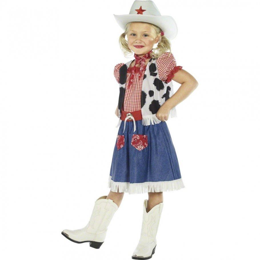 cowboy m dchen kost m cowgirl kost m mehrfarbig m 140 cm. Black Bedroom Furniture Sets. Home Design Ideas