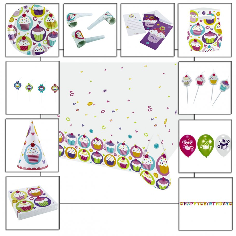 Cupcake party deko set kindergeburtstag partydeko 2 29 for Kindergeburtstag party set