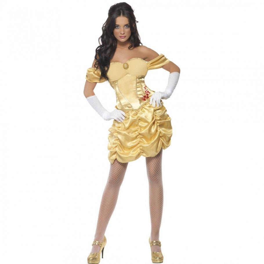 goldenes prinzessinnenkleid sexy prinzessin kost m m rchen prinzessinnen kleid k nigin minikleid. Black Bedroom Furniture Sets. Home Design Ideas