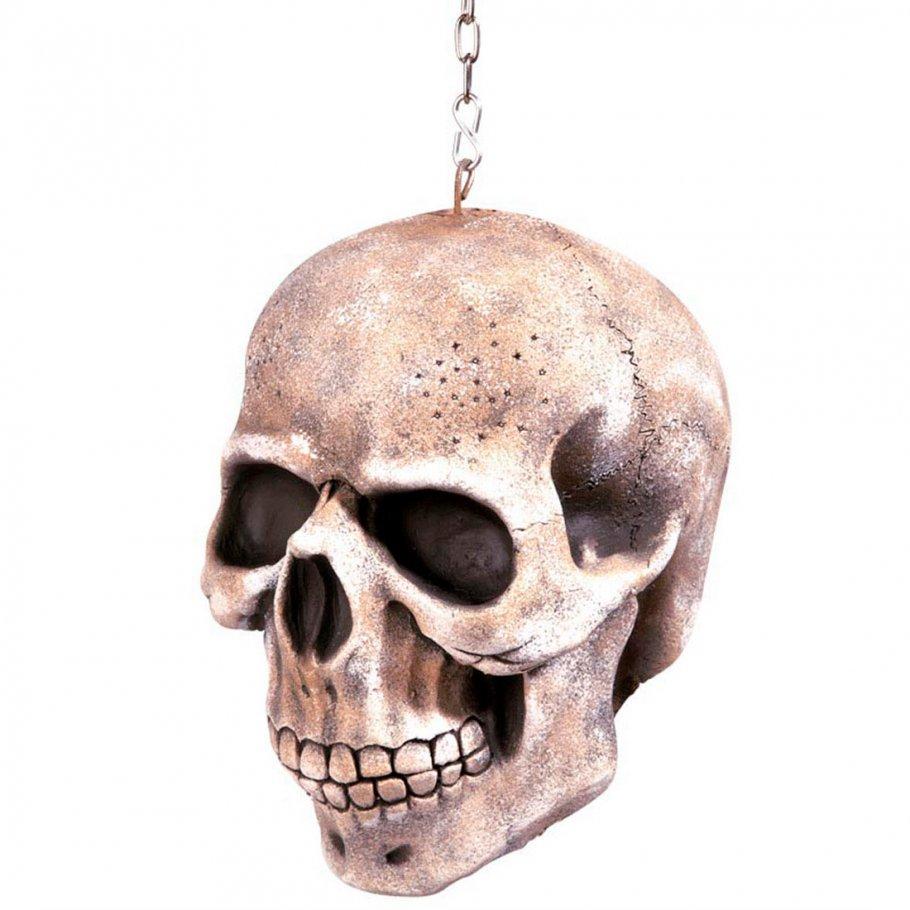h ngender totenkopf skull deko mit kette 20 cm toten sch del dekoration 16 99. Black Bedroom Furniture Sets. Home Design Ideas