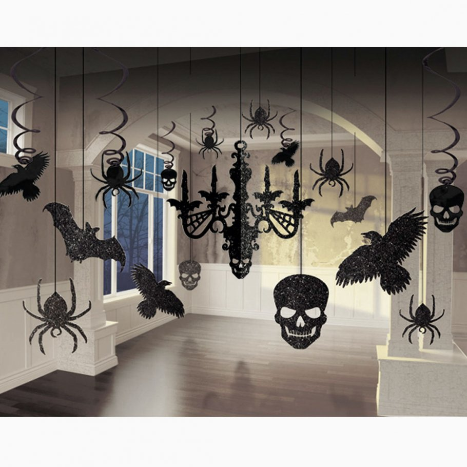 halloween party deko schwarz 16 tlg glitter set deckendeko dekoration halloweendekoration 11 99. Black Bedroom Furniture Sets. Home Design Ideas