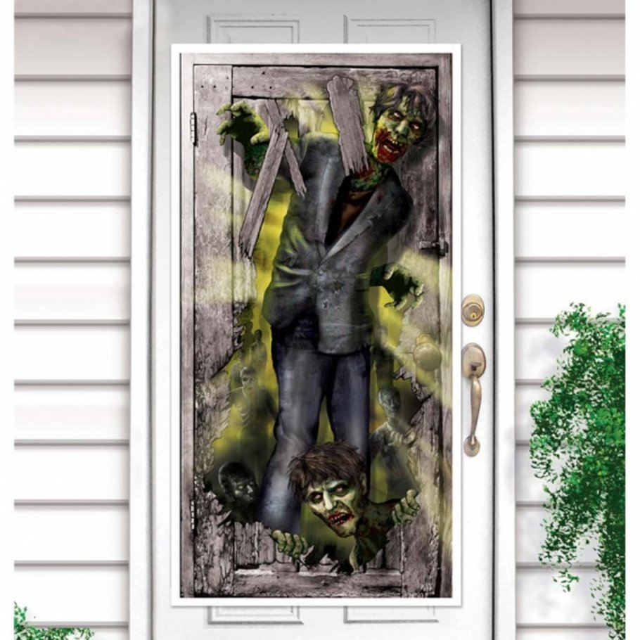 halloween t rdeko zombie attacke t rfolie deko t r 4. Black Bedroom Furniture Sets. Home Design Ideas