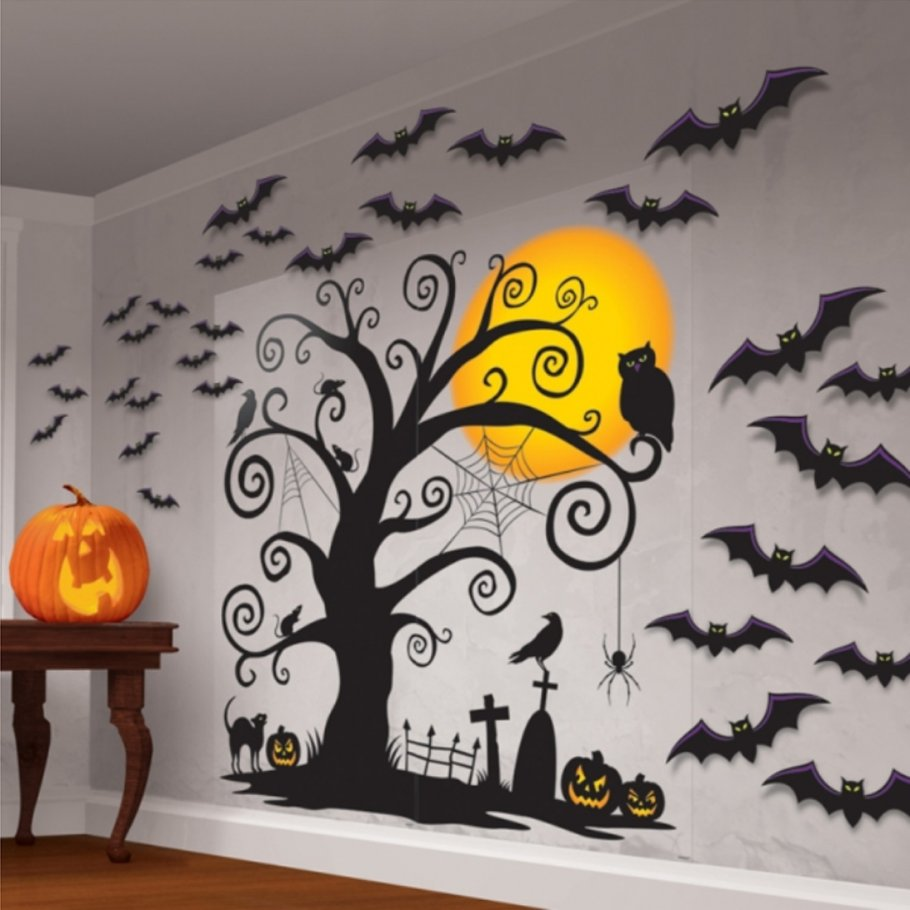 halloween wanddeko friedhof wand deko 32 tlg 8 99. Black Bedroom Furniture Sets. Home Design Ideas