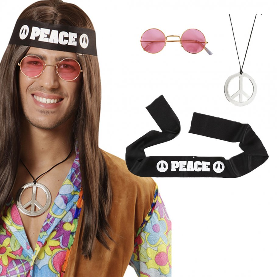 hippie set 70er jahre accessoires peace kette stirnband brille flower power hippieset 60er jahre. Black Bedroom Furniture Sets. Home Design Ideas