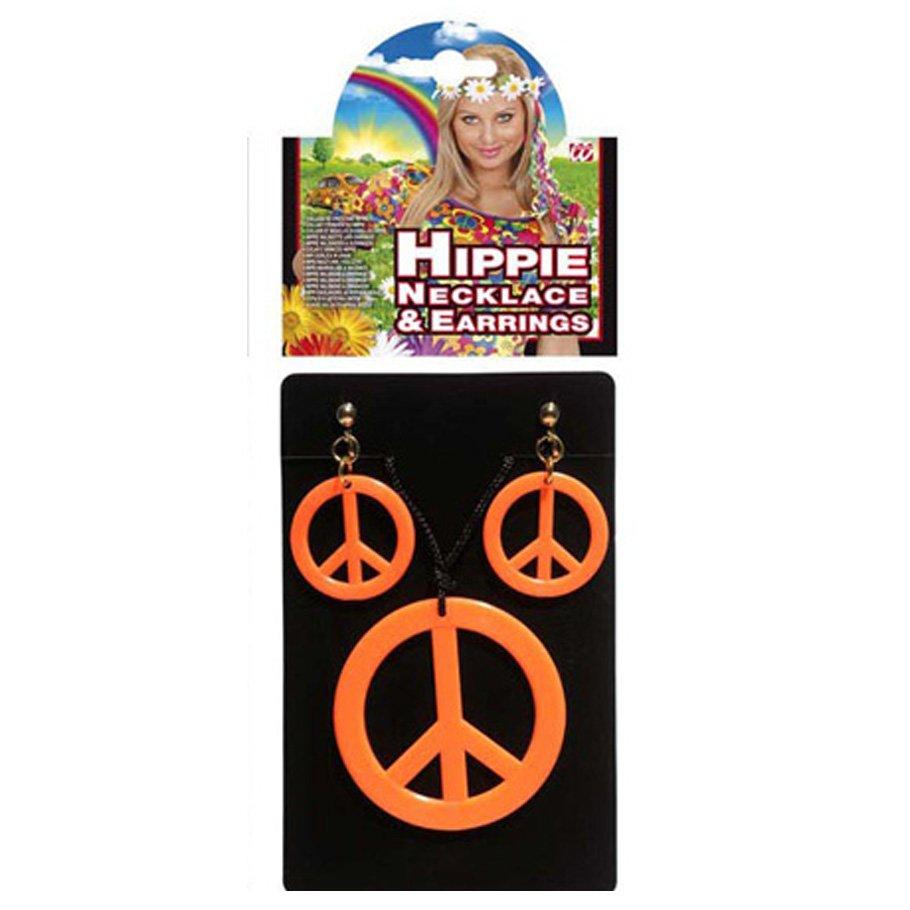hippie schmuck neon orange peacezeichen kette ohrclips 4 99. Black Bedroom Furniture Sets. Home Design Ideas