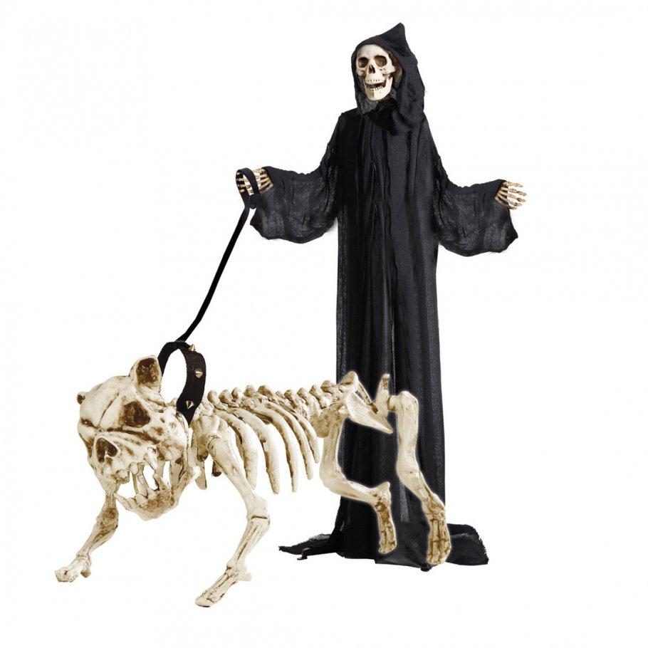 Hundeskelett mit Leine Skelett Deko Hund 45 cm Knochen Dekofigur ...