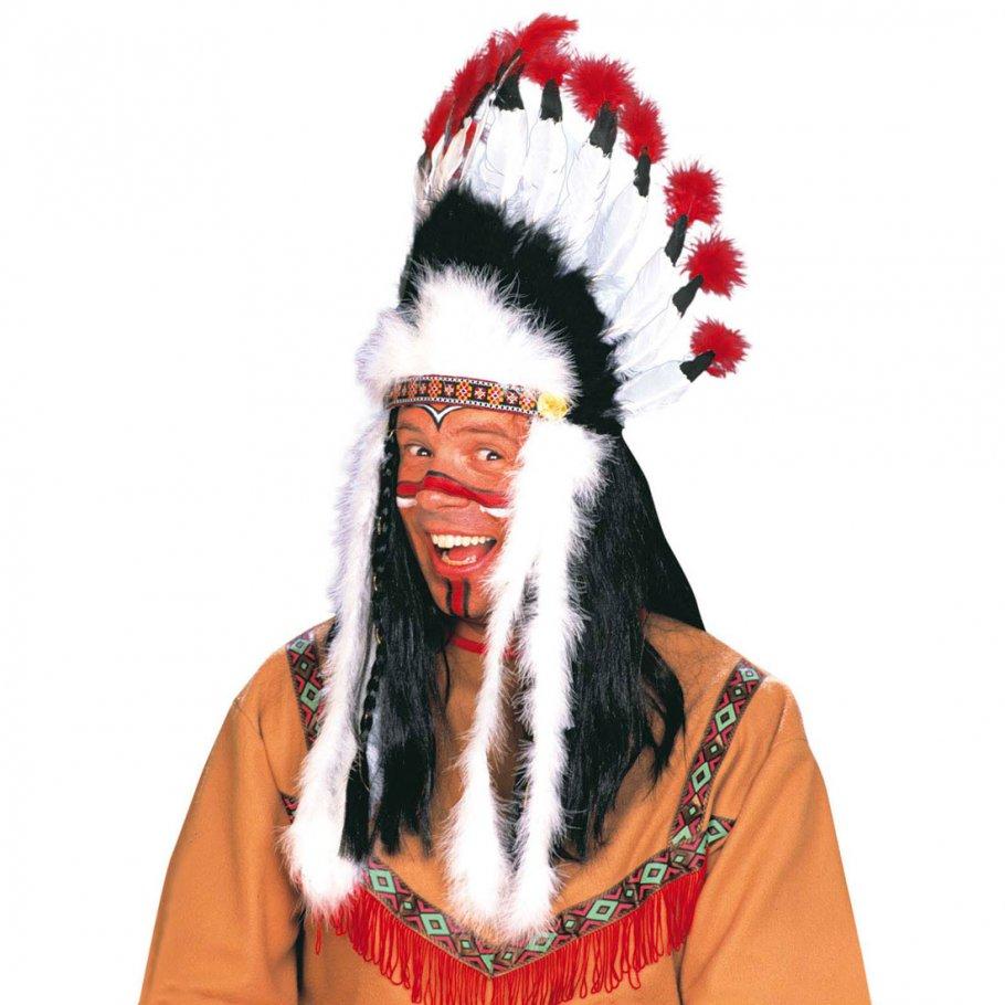 Indianer kopfschmuck federn schwarz weiss 6 99 - Maquillage indien homme ...
