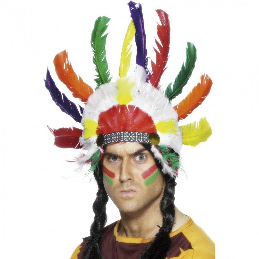 indianer kopfschmuck mit federn indianerschmuck mehrfarbig federschmuck indianer haarschmuck. Black Bedroom Furniture Sets. Home Design Ideas
