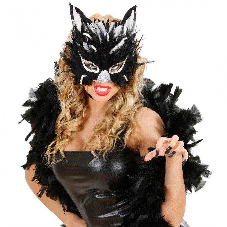 katzenmaske feder maske katze silber schwarz 7 99. Black Bedroom Furniture Sets. Home Design Ideas