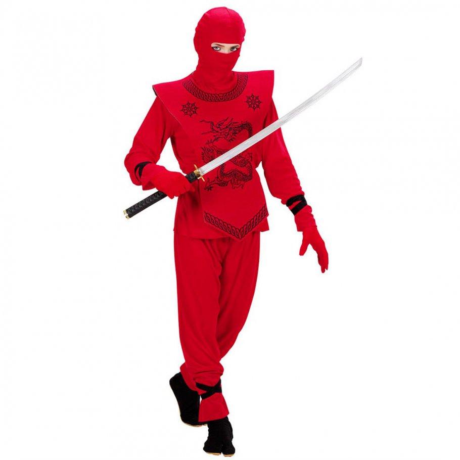 kinder ninjaanzug samurai ninja kost m rot 128 cm 5 7. Black Bedroom Furniture Sets. Home Design Ideas