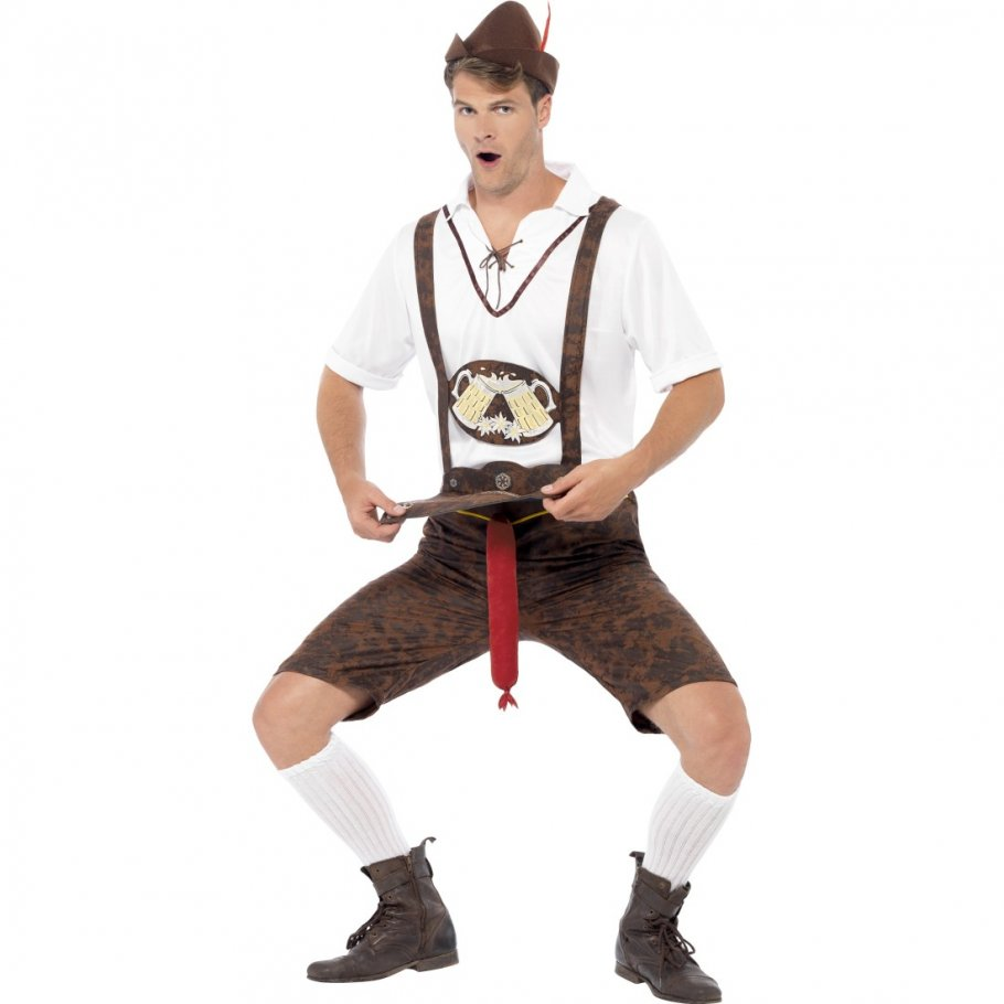 lederhosen mit bratwurst lustiges oktoberfest kost m sexy. Black Bedroom Furniture Sets. Home Design Ideas