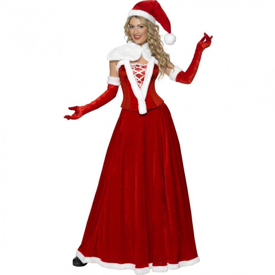 miss santa kost m weihnachtsfrau kleid l 44 46. Black Bedroom Furniture Sets. Home Design Ideas