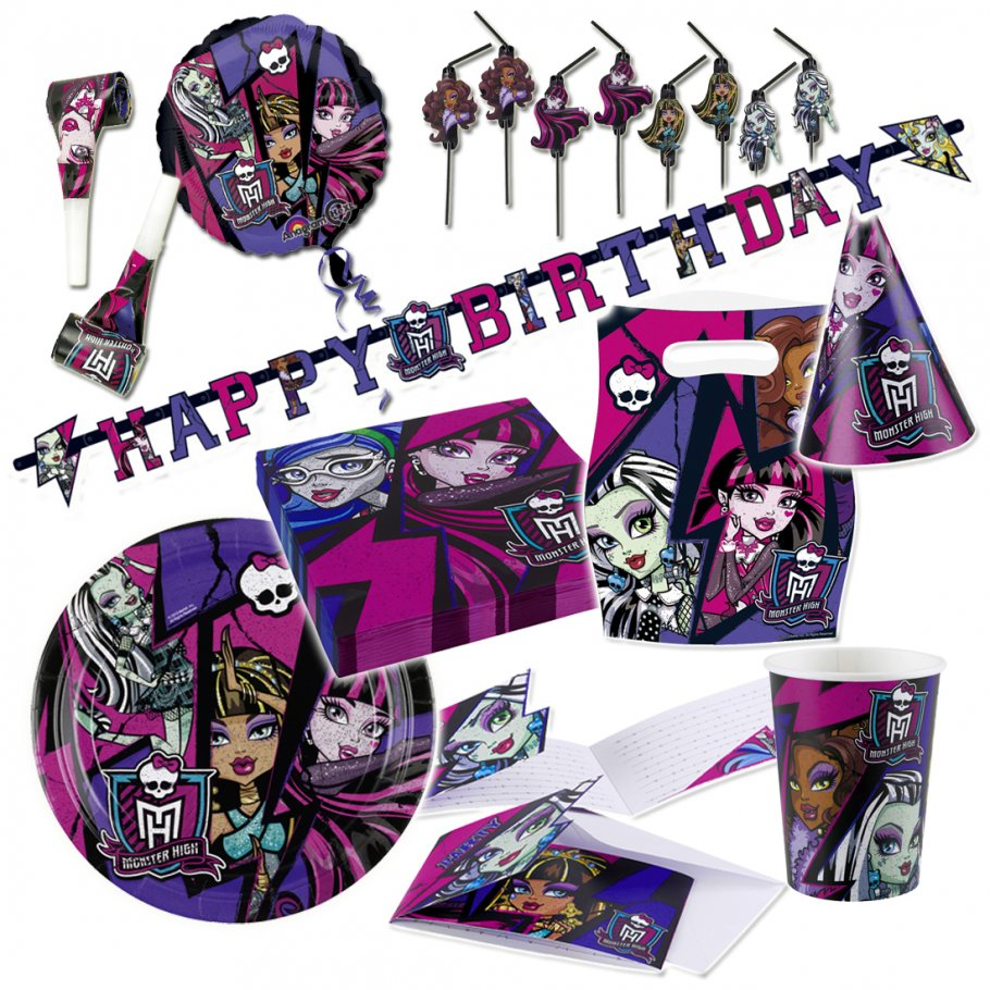 monster high 2 deko set kindergeburtstag partydeko 1 99. Black Bedroom Furniture Sets. Home Design Ideas
