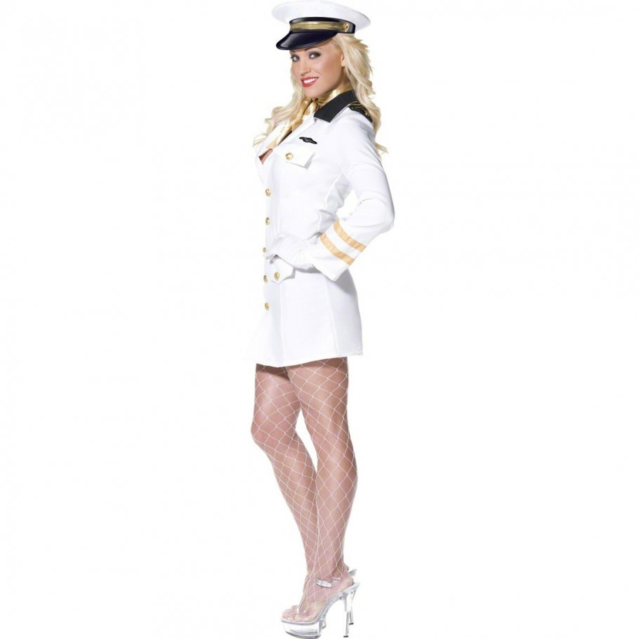 pilotin kost m wei m 40 42 sexy damenkost m pilotinkost m top gun flugkapit nin 49 99. Black Bedroom Furniture Sets. Home Design Ideas