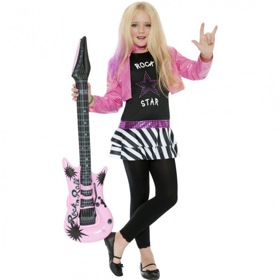 Rockstar Mädchen Kostüm Popstar Kinderkostüm 80er Jahre Rockerin ...