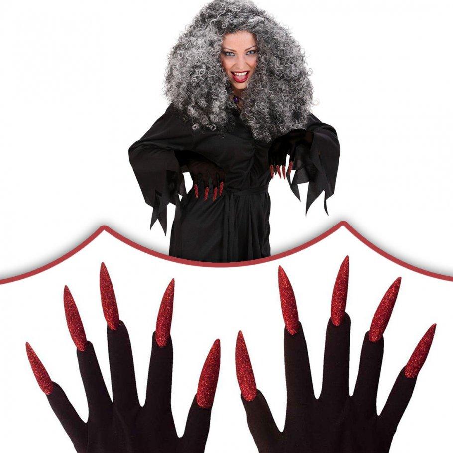 rote halloween hexen handschuhe mit n geln hexenhandschuhe. Black Bedroom Furniture Sets. Home Design Ideas