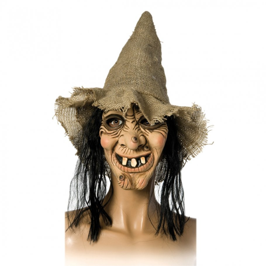 runzelige hexenmaske mit hut und haar alte hexe maske hautfarbend 16 99. Black Bedroom Furniture Sets. Home Design Ideas