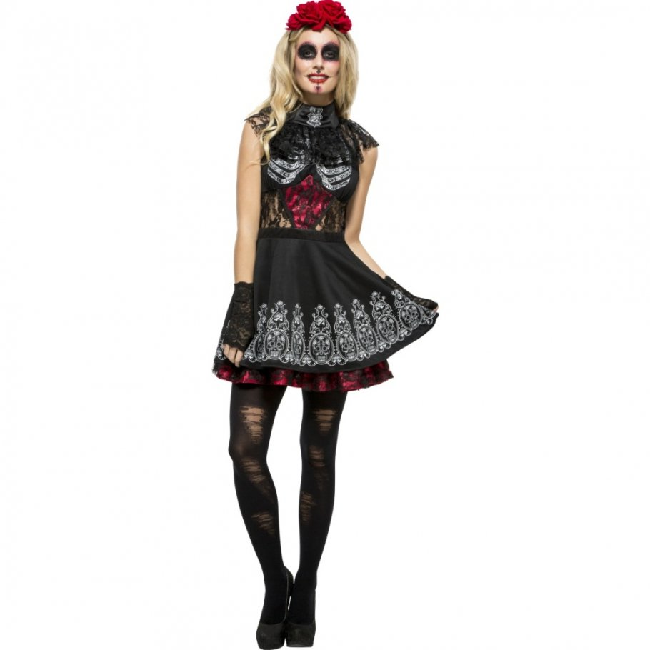 sexy sugar skull kost m gothic outfit la catrina 44 99. Black Bedroom Furniture Sets. Home Design Ideas