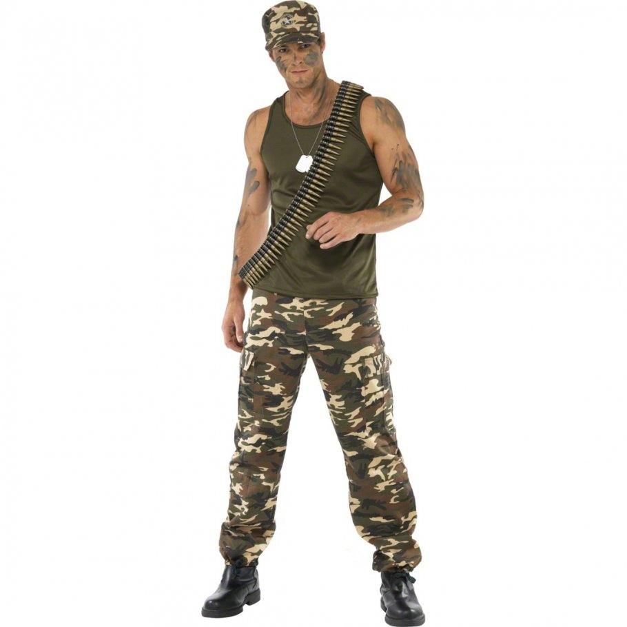 soldaten kost m armeeverkleidung khaki m 48 50 armee krieger k mpfer soldat kost m herrenkost m. Black Bedroom Furniture Sets. Home Design Ideas