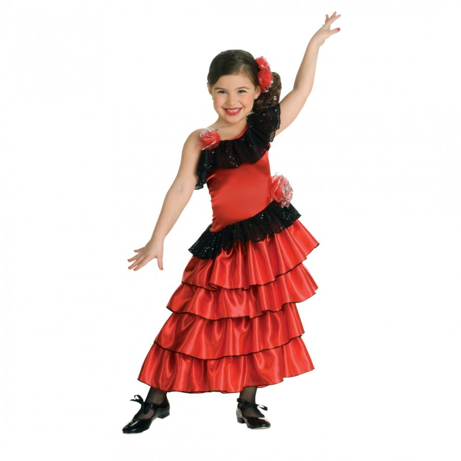 spanierin kost m kinder flamenco kleid mit blume flamenco kinderkost m rotes flamencokleid. Black Bedroom Furniture Sets. Home Design Ideas