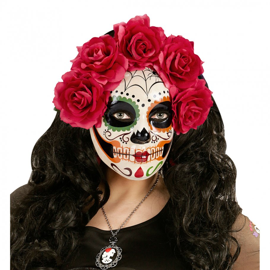 sugar skull maske mit roten rosen la catrina skelett todesmaske 14 9. Black Bedroom Furniture Sets. Home Design Ideas