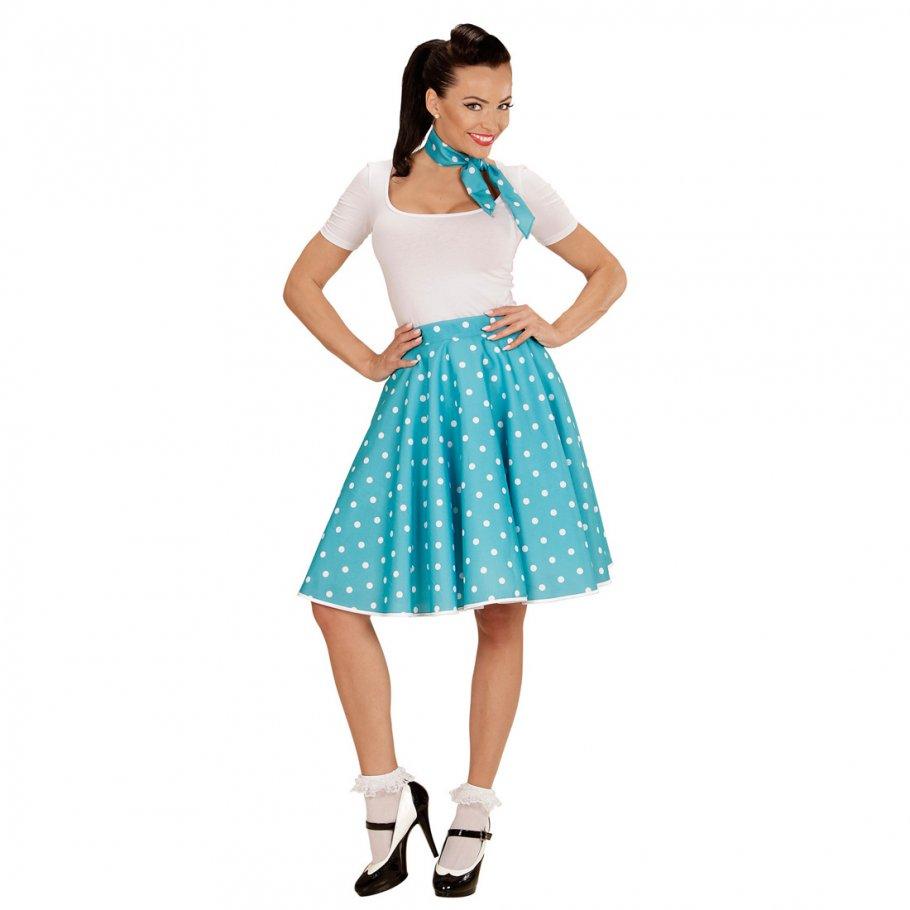 Tellerrock Und Halstuch Blau 60er Jahre Petticoat Polka Dot