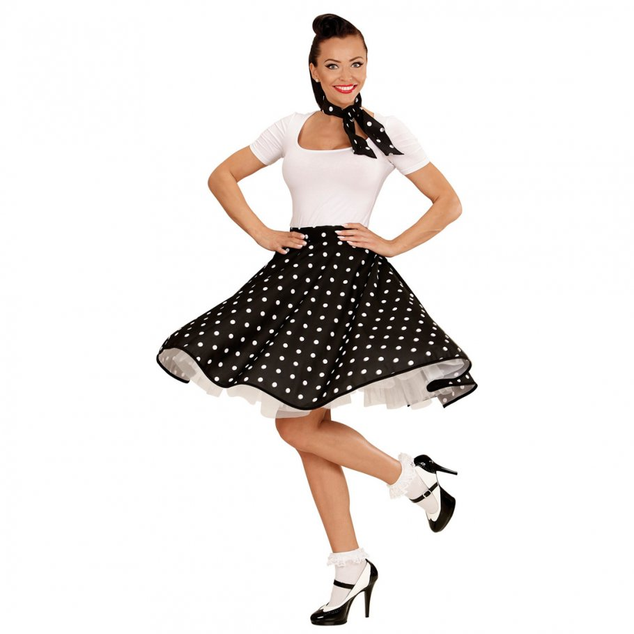 tellerrock und halstuch schwarz 60er jahre petticoat p nktchen rock polka p nktchenrock. Black Bedroom Furniture Sets. Home Design Ideas