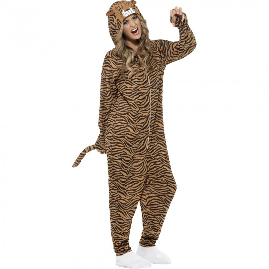 tigerkost m jumpsuit tiger kost m ganzk rper katzenkost m tierkost m raubkatze overall zoo katze. Black Bedroom Furniture Sets. Home Design Ideas