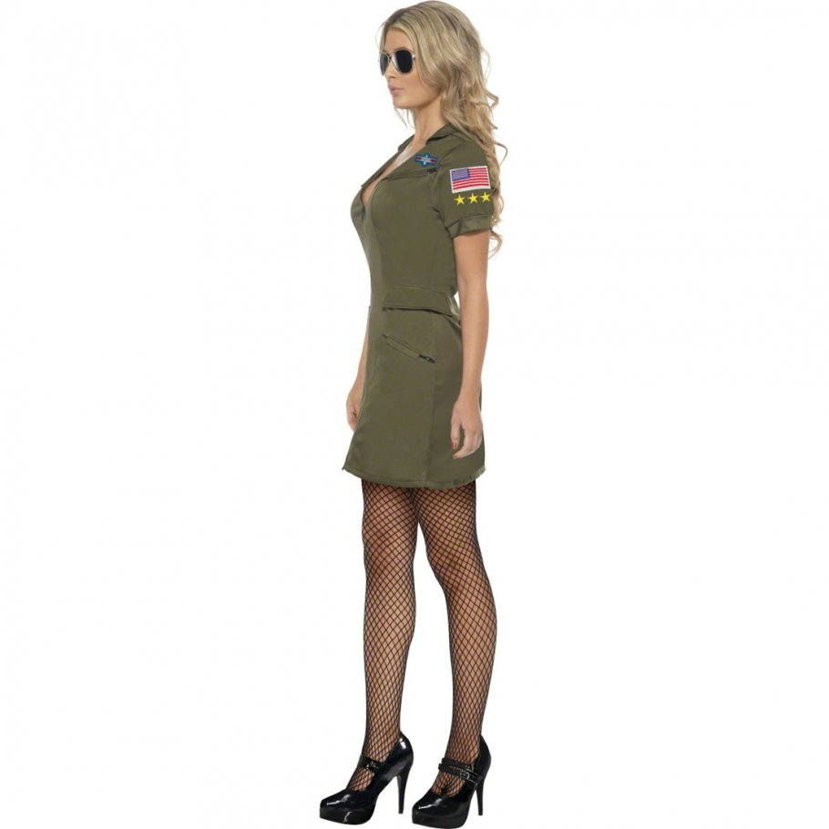 top gun pilotin kost m army girl uniform gr n m 40 42. Black Bedroom Furniture Sets. Home Design Ideas
