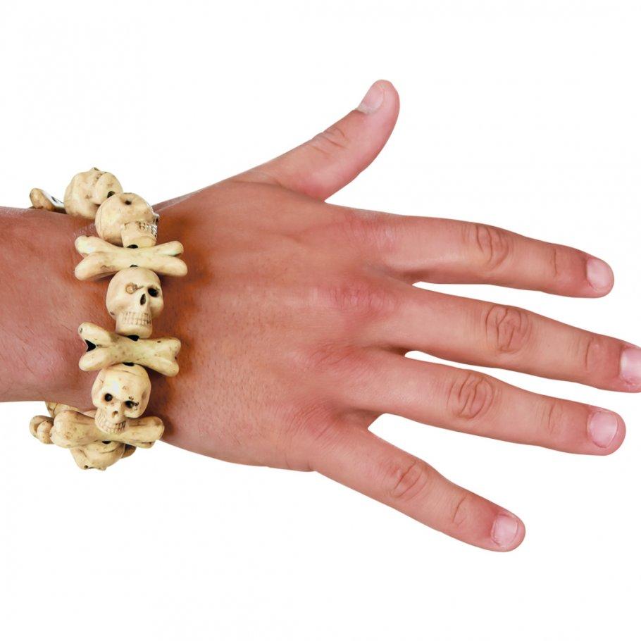Totenkopf Skull Armband Knochen und Schädel Armkette, 3,99 ̈́