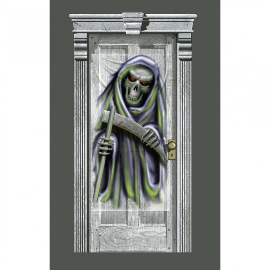 t r deko grim reaper folie 83 x 160 cm halloween dekoration t rdeko skelett raumdekoration. Black Bedroom Furniture Sets. Home Design Ideas