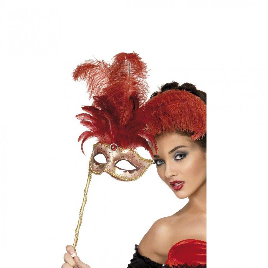 Venedig Maske mit Federn Ballmaske Rot gold Augenmaske ...