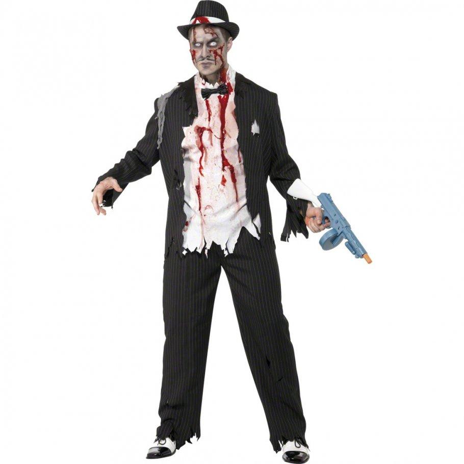 zombie kost m gangster m 48 50 zombiekost m halloween. Black Bedroom Furniture Sets. Home Design Ideas